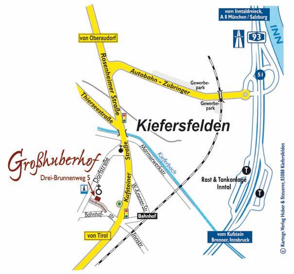 Anfahrtskizze zu den Ferienwohnungen am Großhuberhof in Kiefersfelden, Oberbayern
