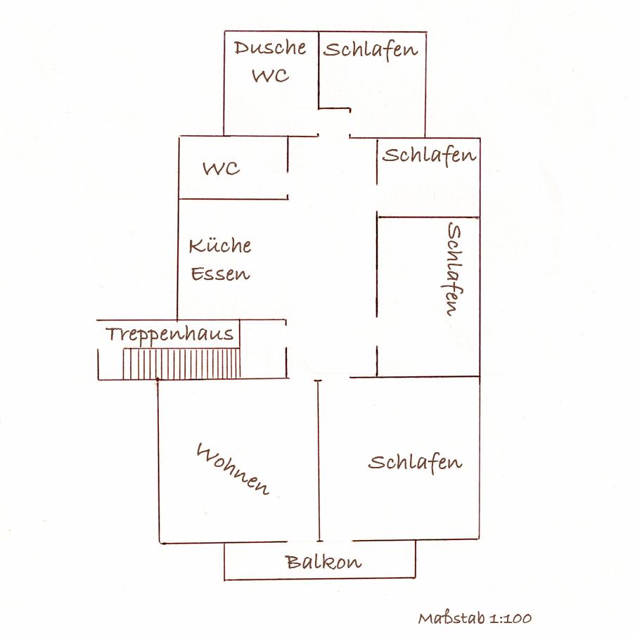 """Grundriss der 4-Sterne-Ferienwohnung """"Bauernhaus"""""""