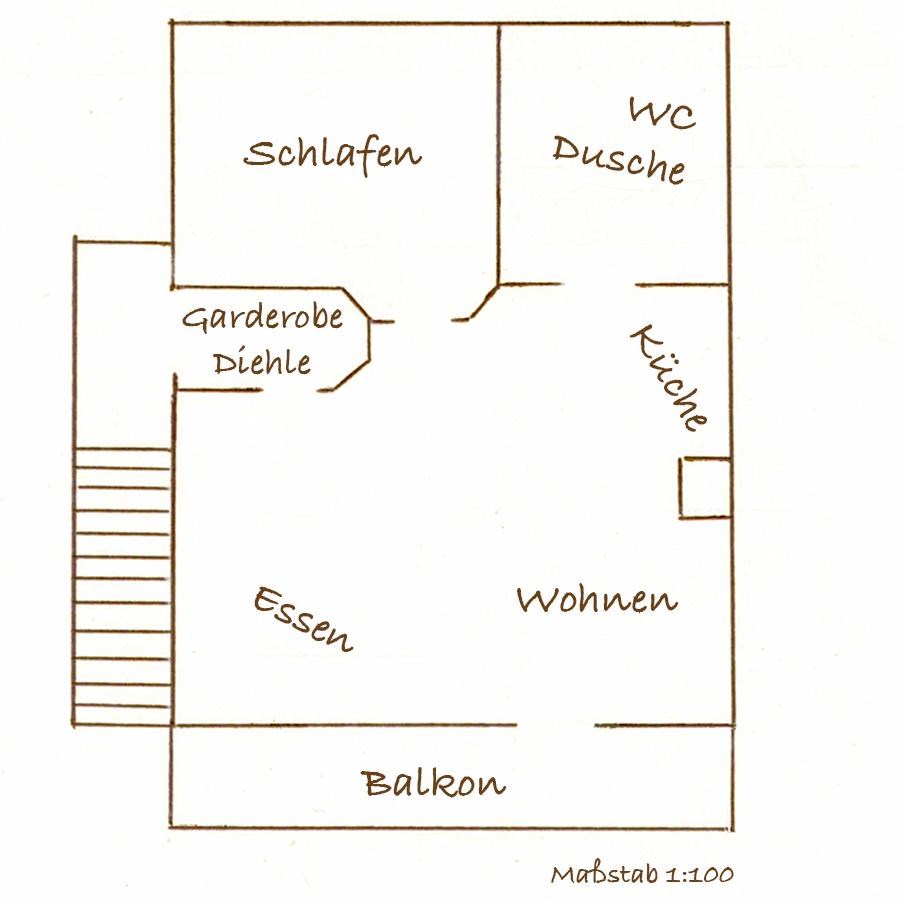 Grundriss der Ferienwohnung für 2-4 Personen in Oberbayern