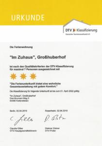 """3-Sterne Zertifikat (DTV) für Ferienwohnung """"Im Zuhaus"""" des Großhuberhof"""